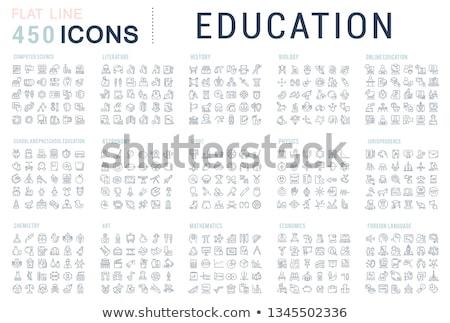 educação · linha · conjunto · ícones · teia - foto stock © voysla