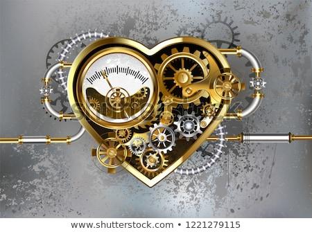 hart · mechanisch · staal · goud · versnellingen · grijs - stockfoto © blackmoon979