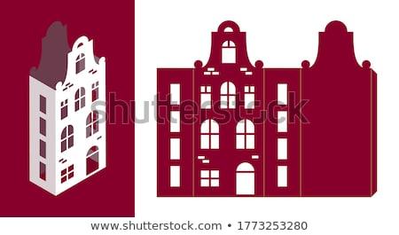 европейский Cityscape домах силуэта вектора черный Сток-фото © vasilixa