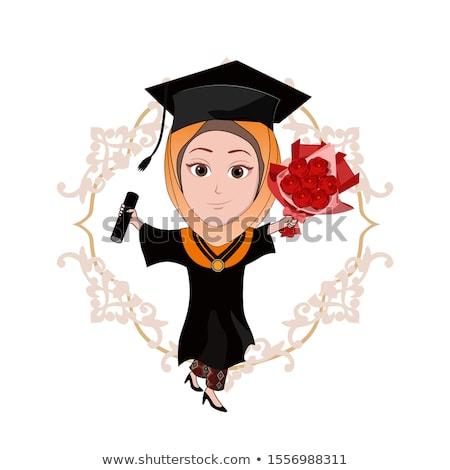 証明書 テンプレート 女性 赤 卒業 ガウン ストックフォト © bluering