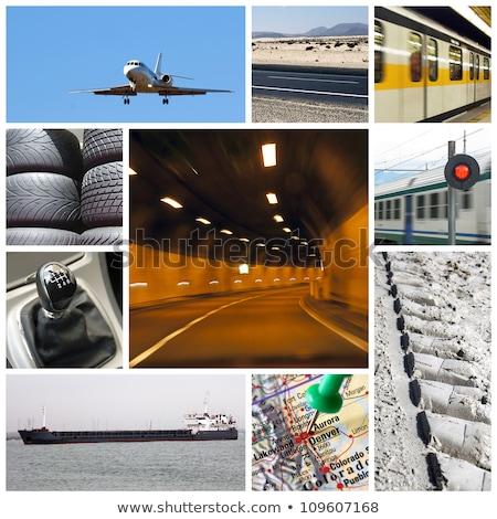 Car wheel flying on world map background. Stock photo © RAStudio
