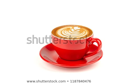 piros · csésze · kávé · izolált · forró · fehér - stock fotó © sqback