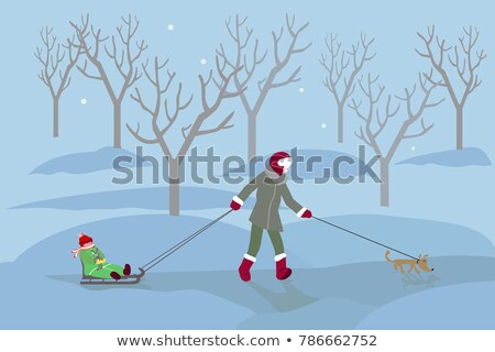 Woman walking in snow with skis Stock photo © IS2