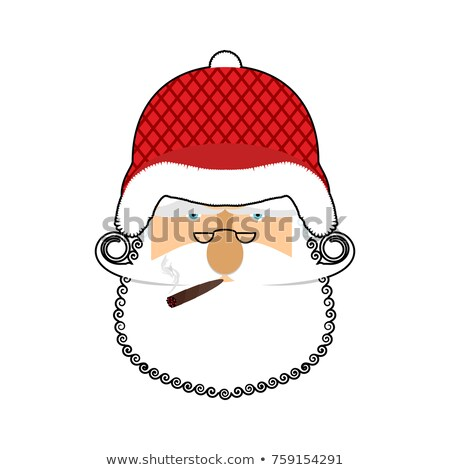 Santa Soldier face. Army Claus head. Christmas War. Defender of  Stock photo © popaukropa