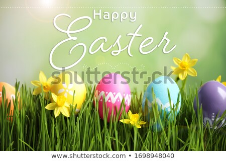 happy Easter text on blur green bokeh Stock photo © romvo