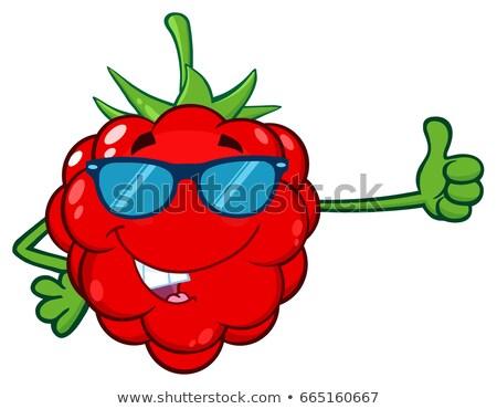 Rojo frambuesa frutas mascota de la historieta carácter gafas de sol Foto stock © hittoon