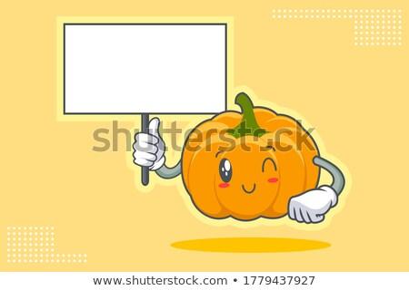 Glimlachend oranje pompoen groenten cartoon gezicht Stockfoto © hittoon
