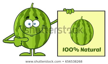 Verde pepene verde fructe proaspete mascota de desene animate Imagine de stoc © hittoon