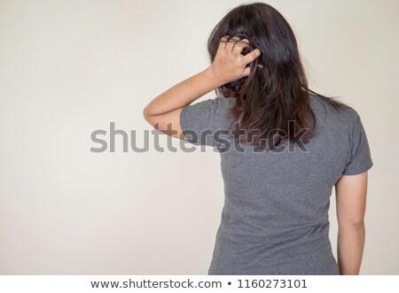 cabeça · bonitinho · asiático · menina · pensando - foto stock © feedough