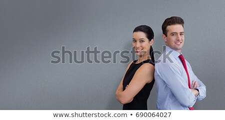 Side view of gray 3d man against profile view of digital gray 3d woman Stock photo © wavebreak_media