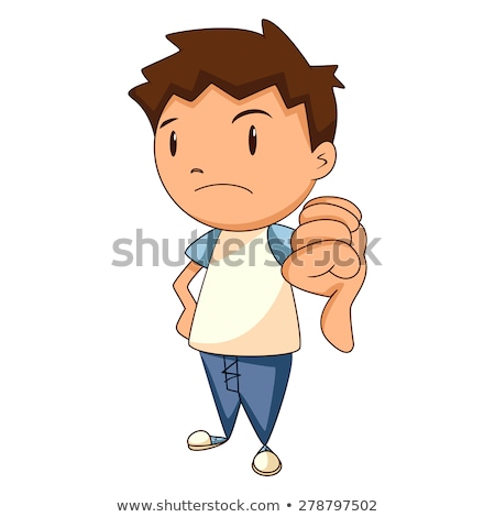 Disappointed caucasian boy with thumb down Stock photo © RAStudio