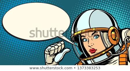 serious astronaut woman points at herself Stock photo © studiostoks