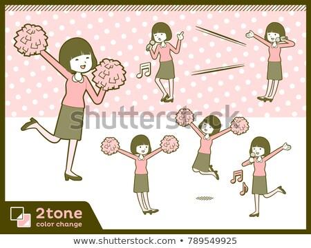 2tone type Straight bangs hair blouse woman_set 7 Stock photo © toyotoyo