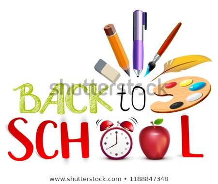 Powrót do szkoły tekst edukacji symbol obiektów czerwone jabłko Zdjęcia stock © orensila