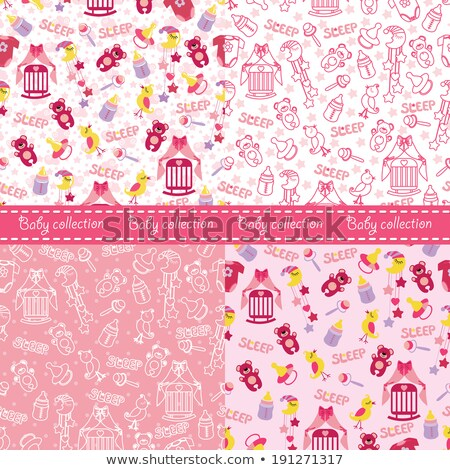 seamless pattern with baby girl items newborn clothes and accessories stock photo © lemony