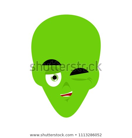 Green alien winks Emoji. UFO face happy emotion Stock photo © popaukropa