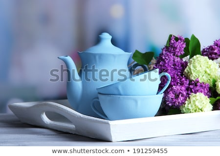 cup of tea and branches of flowers bouquet blooming lilac stock photo © illia