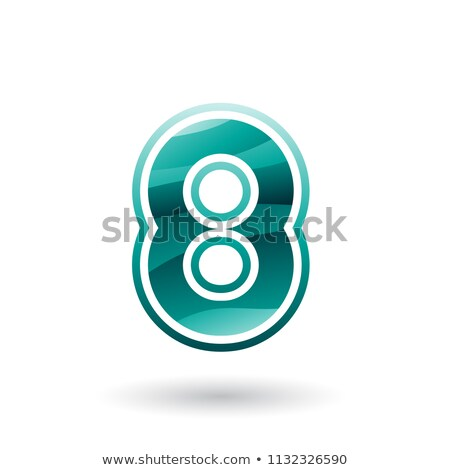 Persian Green Round Icon for Number 8 Vector Illustration Stock photo © cidepix