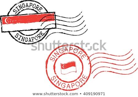 Cachet de la poste Singapour cityscape affaires ciel bureau Photo stock © 5xinc