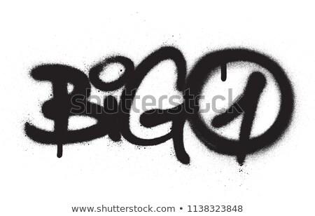 Graffiti tag groot een zwart wit Stockfoto © Melvin07