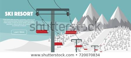 Stok fotoğraf: Dağ · Kayak · sopa · yalıtılmış · beyaz · doğa