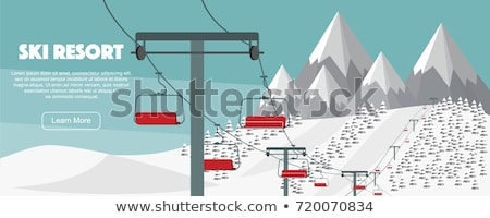 mountain ski and stick vector illustration Stok fotoğraf © konturvid