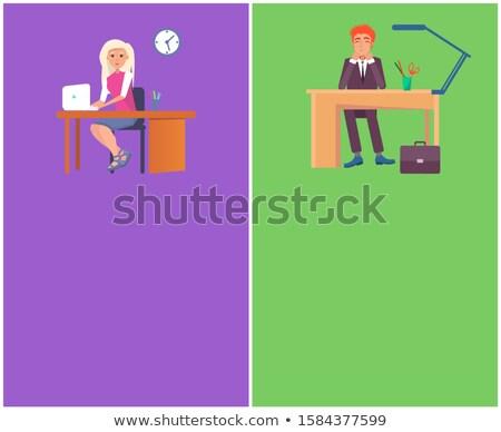 set · imprenditore · seduta · desk · impiegato · eps10 - foto d'archivio © robuart