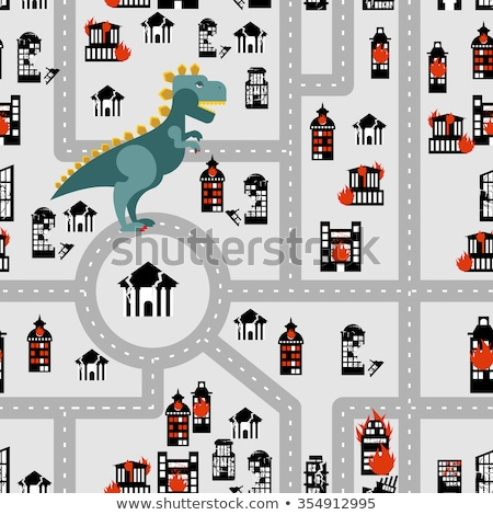 Aggressive dinosaur destroys urban building seamless pattern. An Stock photo © popaukropa
