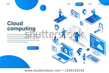 Data sharing service isometric flat vector landing page. Stock photo © TarikVision