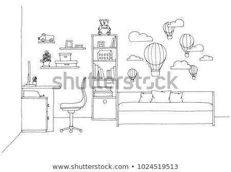 Rajz szoba tinédzserek vektor baba óra Stock fotó © Arkadivna