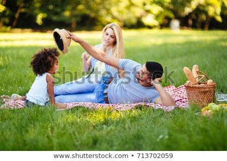 пикника Cute девушки счастливым Сток-фото © konradbak