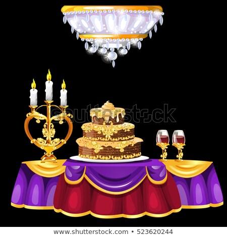 表 豪華な ケーキ 眼鏡 ワイン ストックフォト © Lady-Luck