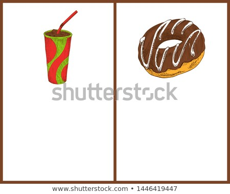 Soft drink with ice and tasty round donut banner Stock photo © robuart