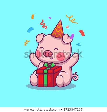 Cartoon Boar Birthday Party Stock photo © cthoman