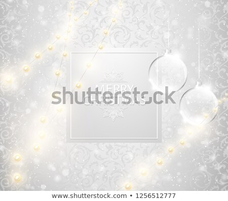 Christmas light shining snowfall background. Merry Christmas text on square label, transparent glass Stock photo © Iaroslava