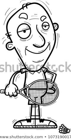 Cartoon senior badminton speler illustratie Stockfoto © cthoman