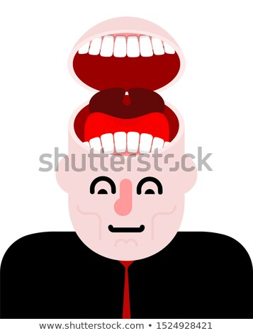 open head with teeth tongue and open mouth insatiable stock photo © maryvalery