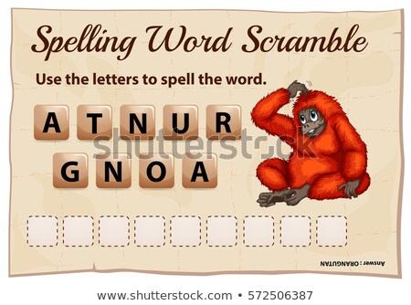 Spelling word scramble game template with word orangutan Stock photo © colematt