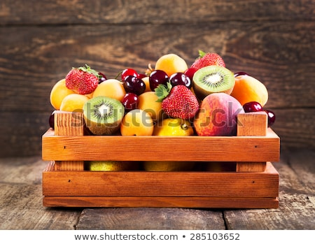 Fresh red ripe apples fruits in the wooden box Stock photo © Illia