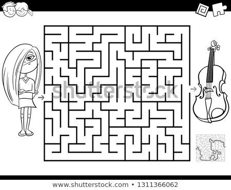 maze with girls and violin color book Stock photo © izakowski
