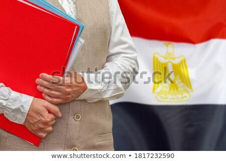 Mappa zászló Egyiptom akták izolált fehér Stock fotó © MikhailMishchenko