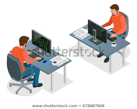 Vector isometric programmer workplace Stock photo © tele52
