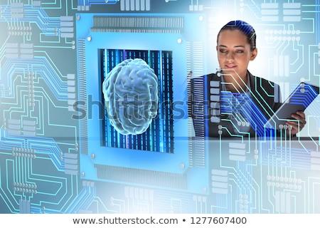 Bilişsel kadın düğmeler iş bilgisayar Stok fotoğraf © Elnur