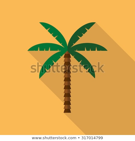 palm tree vector green leaf tropical sand beach isolated flat cartoon illustration stock photo © pikepicture