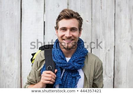 Jonge man rugzak knap permanente Maakt een reservekopie weinig Stockfoto © ra2studio