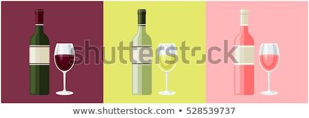 Rosa garrafa de vinho óculos stonewall espaço madeira Foto stock © karandaev