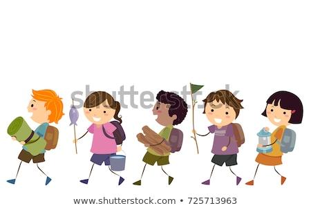 stickman kids summer camp walk illustration stock photo © lenm