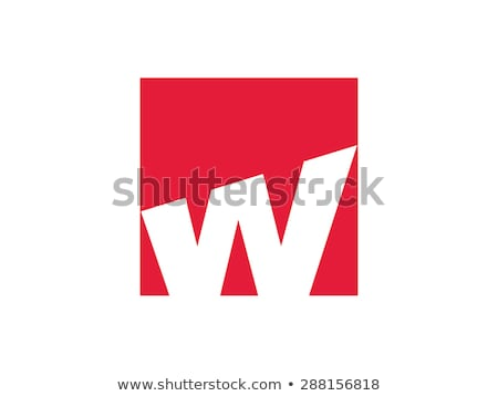 red ribbon w letter w logotype logo vector stock photo © blaskorizov