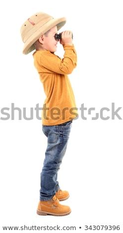 Safari jongen witte illustratie man achtergrond Stockfoto © colematt