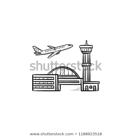 vliegtuig · af · landingsbaan · illustratie · business - stockfoto © rastudio